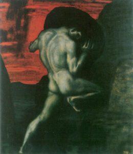 Sisifo che trasporta il masso, Franz von Stuck, (1920).